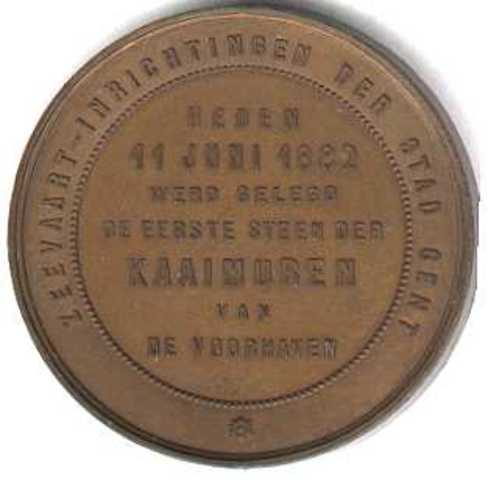 Gedenkpenning voor de 1ste steenlegging der Kaaimuren van de Gentse voorhaven, Gent , 1882