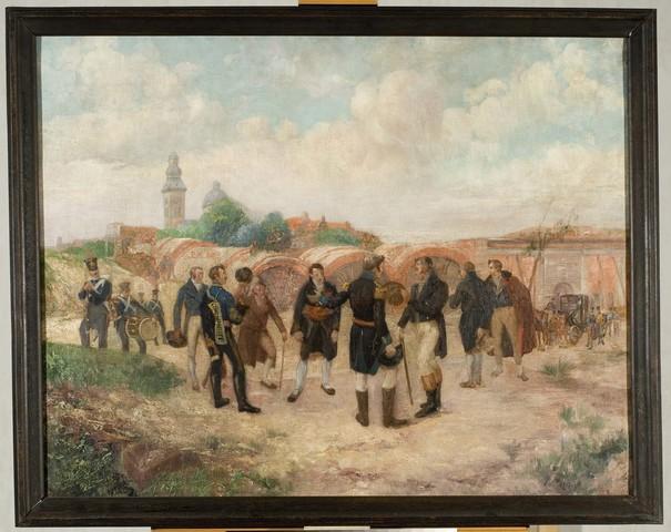 Willem I bezoekt de werken aan de nieuwe Citadel te Gent