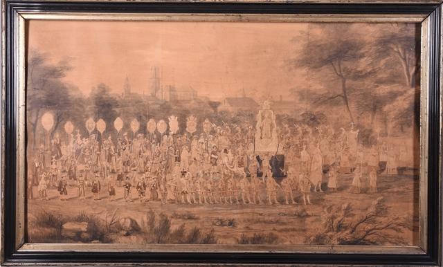Processie ter ere van de H. Macharius 1867 met opgekleefde foto's van personen