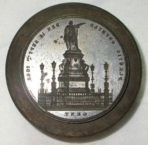 Keerrzijdematrijs voor de penning van de Inhuldiging van het Standbeeld van Artevelde, 1863