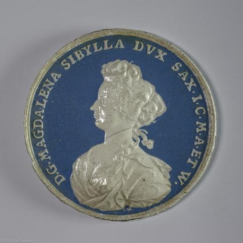 Portretmedaillon van Magdalena Sibylle van Saxen - Weissenfels (1673-1726)