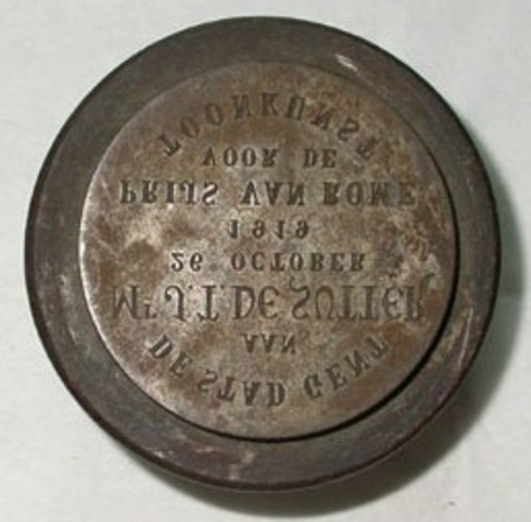 Keerzijdematrijs erepenning aan T. De Sutter, prijs van Rome, 1919