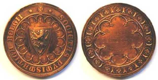 Lidmaatschapspenning van het Koninklijk Belgisch Genootschap voor Numismatiek aan J. De Meyer, 1842 (1842)