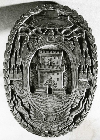 Stempel met het wapenschild van Jacques del Rio, abt van de Baudelo-abdij