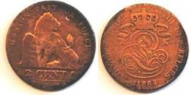 Belgische munt van 2 centimes, 1864