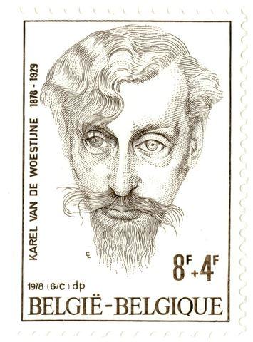 Postzegel met portret van Karel Van de Woestijne