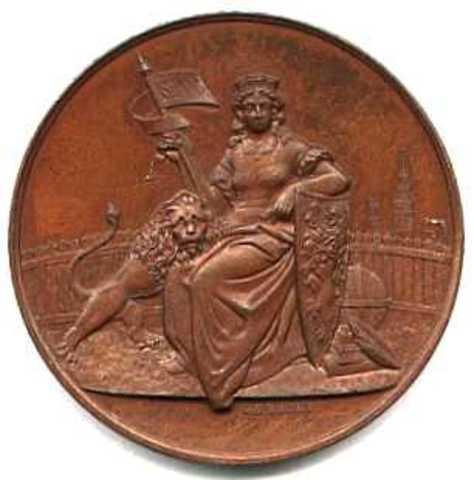 Gedenkpenning voor de aankomst te Gent van de eerste stoomboot rechtstreeks uit Amerika, 1885
