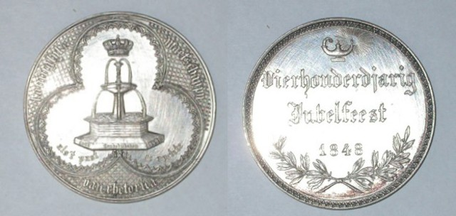 Gedenkpenning 400-jarig jubelfeest der Fonteyne, 1848
