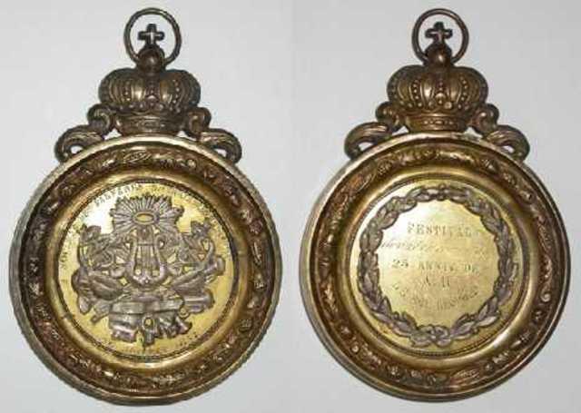 Gedenkpenning festival te Evergem voor het zilveren regeringsjubileum van Leopold I, 1857