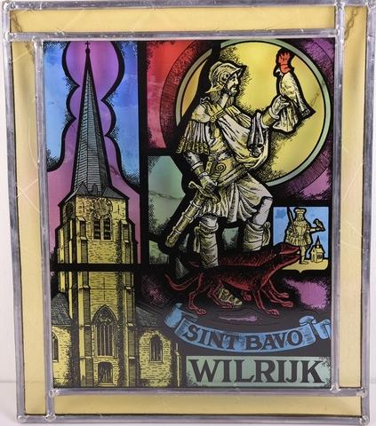 Glasraam  met westpartij van St. Bavokerk, patroonheilige en wapenschild gemeente Wilrijk