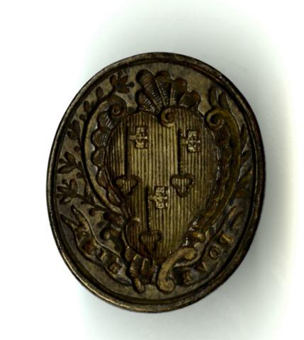 Zegelstempel met wapenschild van de Sint-Pietersabdij te Gent