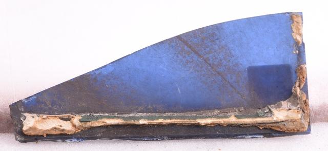 glasraamfragment, decoratief  blauw - grijs