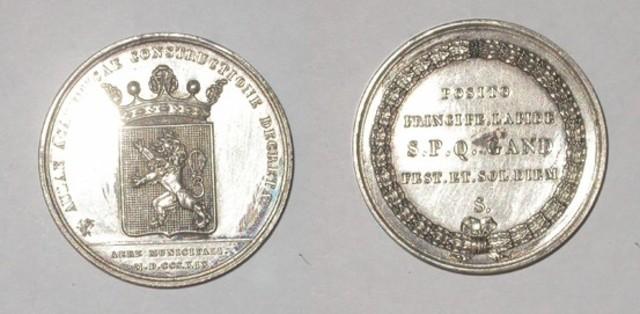 Gedenkpenning aan de 1ste steenlegging van de Aula Gentse universiteit, 1819