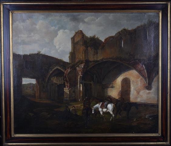 Gezicht op de ruïnes van de Sint-Baafsabdij te Gent