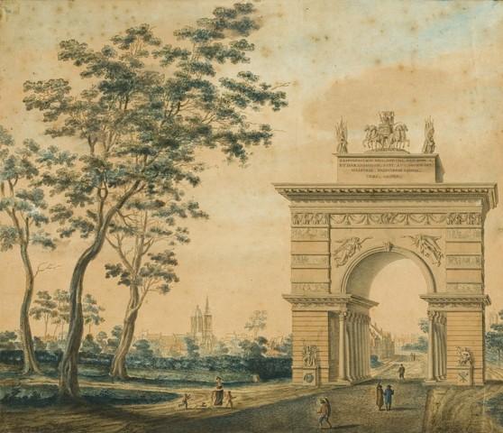Triomfboog opgericht buiten de Brusselse Poort, voor de Blijde Intrede te Gent van Napoleon en Marie-Louise in 1810