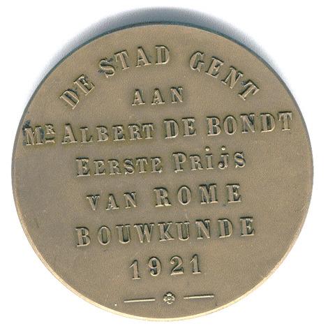 Erepenning A. De Bondt eerste prijs van Rome bouwkunde, 1921