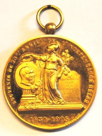 Gedenkpenning voor de 75ste verjaring van België, 1905