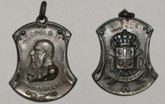 Gedenkpenning Leopold II 50 jaar erelid van St-Sebastiaan Oostende, 1907
