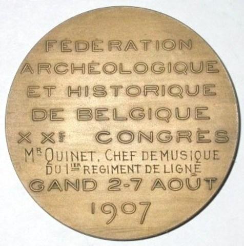 Medaille 20ste Congres Fedération Archéologique et Historique aan Napoleon De Pauw en aan Quinet, 1907