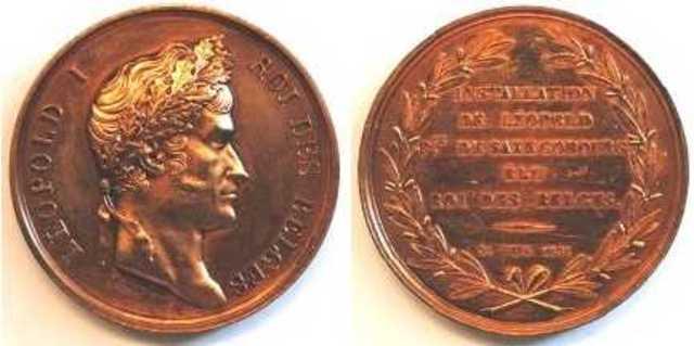 Gedenkpenning installatie van Leopold I als eerste koning van België, 1831