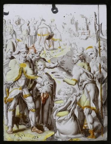 De geschiedenis van Jozef: de zilveren schaal wordt door zijn rentmeester in de zak van Benjamin gevonden
