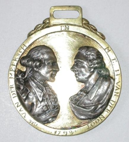 Penning met de bustes van Van der Meersch en Van der Noot, (1790 ?)