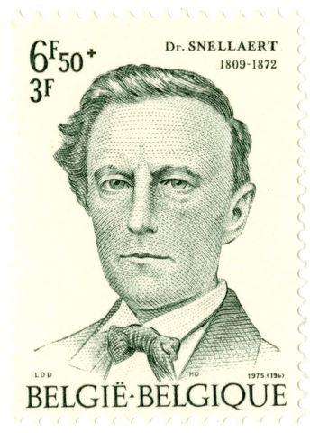 Postzegel met portret van Ferdinand Snellaert
