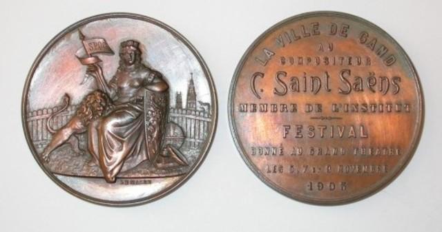 Erepenning van de Stad Gent aan de componist Saint Saëns, 1903