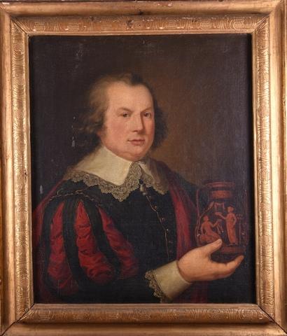 Portret van een man met een vaas in de hand