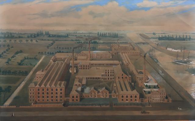 Gezicht op de katoenfabriek Parmentier, Van Hoegaerden & Cie