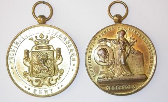 Gedenkpenning van de Provincie voor de 75ste verjaring van België, 1905