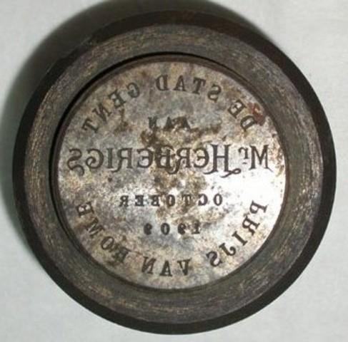 Keerzijdematrijs erepenning aan herberigs, Prijs van Rome, 1909
