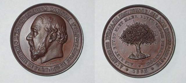 Erepenning aan Vandenpeereboom, 1883