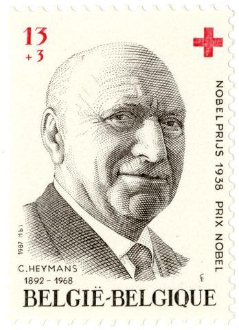Postzegel met portret van Corneel Heymans