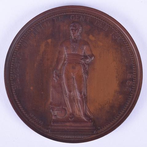 Gedenkpenning oprichting standbeeld Lieven Bauwens, 1885