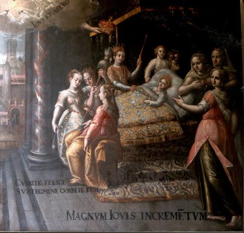 De geboorte van keizer Karel, De schikgodinnen bij de wieg van Keizer Karel