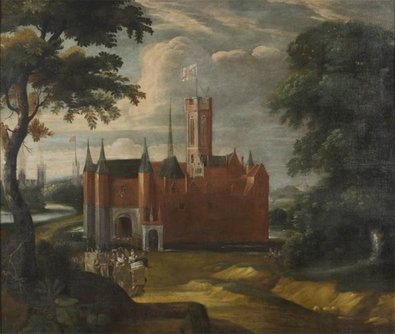 De stoet op weg voor het doopsel van Karel V