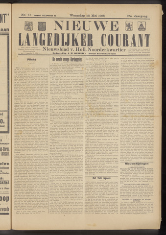 Nieuwe Langedijker Courant 1928-05-30