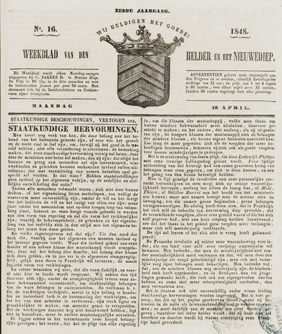 Weekblad van Den Helder en het Nieuwediep 1848-04-10