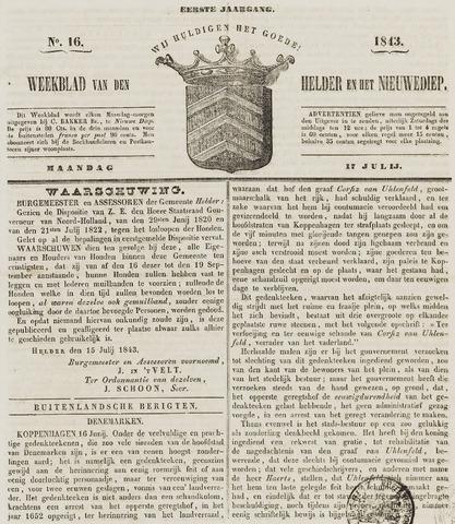 Weekblad van Den Helder en het Nieuwediep 1843-07-17