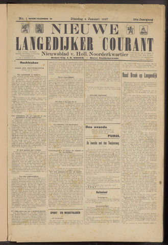 Nieuwe Langedijker Courant 1927-01-04