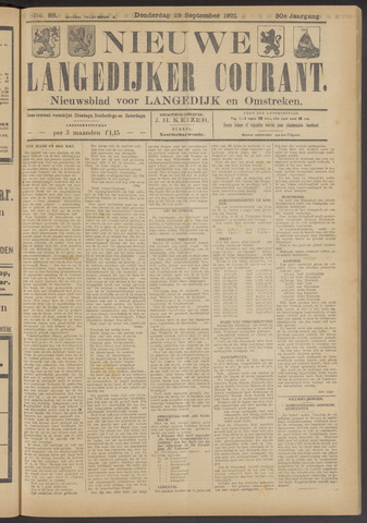 Nieuwe Langedijker Courant 1921-09-29
