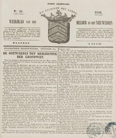 Weekblad van Den Helder en het Nieuwediep 1848-07-03