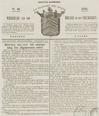 Weekblad van Den Helder en het Nieuwediep 1851-03-03