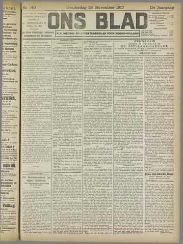 Ons Blad : katholiek nieuwsblad voor N-H 1917-11-29