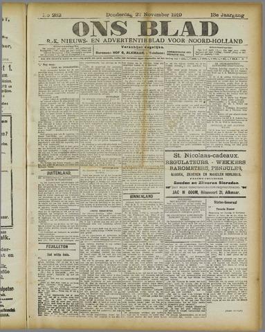 Ons Blad : katholiek nieuwsblad voor N-H 1919-11-27