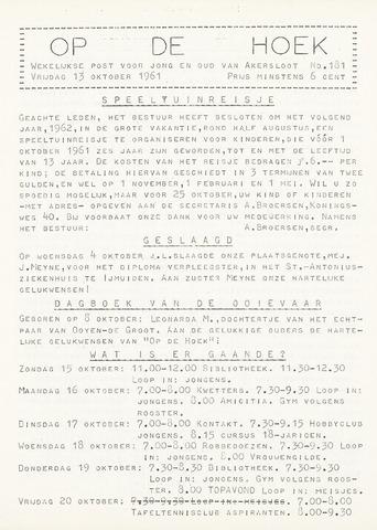 Op De Hoek, weekblad voor Akersloot 1961-10-13