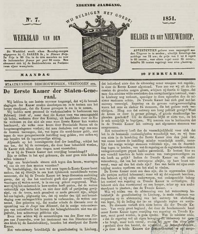 Weekblad van Den Helder en het Nieuwediep 1851-02-10