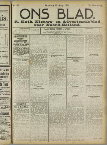 Ons Blad : katholiek nieuwsblad voor N-H 1913-08-12