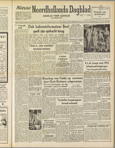 Nieuw Noordhollandsch Dagblad : voor Alkmaar en omgeving 1952-08-05